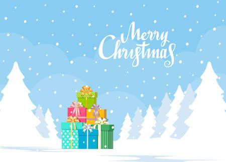 Stack of gift boxes on winter landscape background. Christmas concept. Vector illustration in flat style. Ilustração