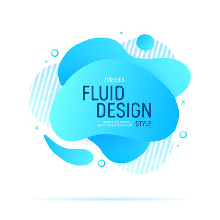 Fluid Design. Modern blue liquid abstract geometric shapes. Futuristic trendy dynamic elements. Banco de Imagens