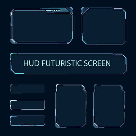 Futuristischer Touchscreen der Benutzeroberfläche. Modernes HUD-Bedienfeld. High-Tech-Bildschirm für Videospiele. Sci-Fi-Konzeptdesign. Vektor-Illustration. Vektorgrafik