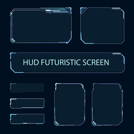 Pantalla táctil futurista de interfaz de usuario. Panel de control moderno de HUD. Pantalla de alta tecnología para videojuegos. Diseño de concepto de ciencia ficción. Ilustración de vector. Ilustración de vector