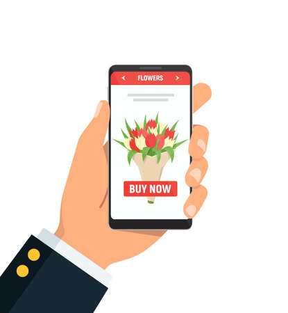 Online flower delivery. Person holds phone with bouquet of tulips on screen. Vector illustration in flat style.