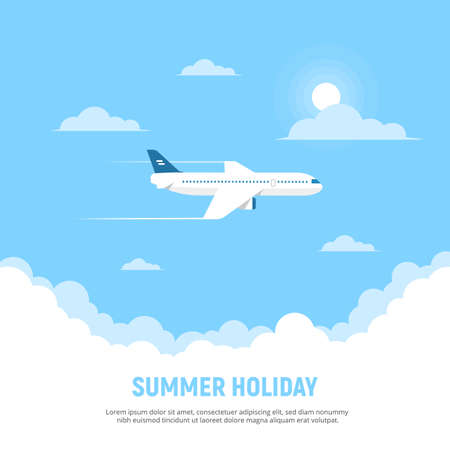 Flying airplane and clouds on blue sky background. Concept travel and holidays. Vector illustration in flat style. Ilustração