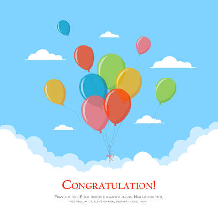 Colorful balloons in the sky. Design template for greeting card, birthday invitation, banner. Congratulations concept. Vector illustration in flat style.
