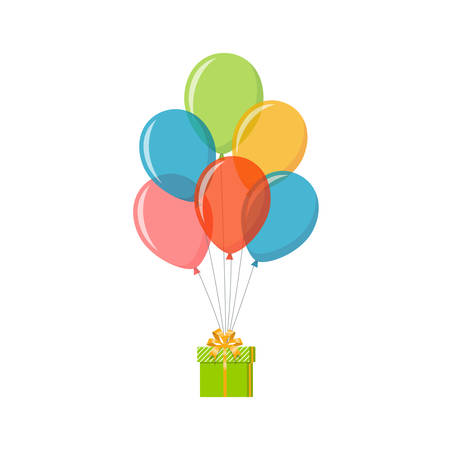 Bunch of colorful balloons with gift box. Holiday and celebration concept. Vector illustration in flat style