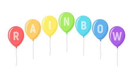 Set of balloons of the colors of rainbow. Isolated balloons for holiday or greeting cards, web, print and other design.