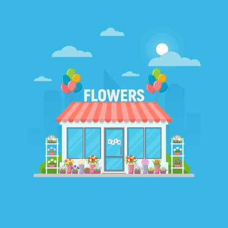 Flower shop building facade. Flower shop with different flowers in vases on city skyline. Vector illustration. Ilustração