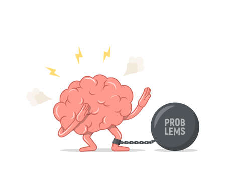 Depressed brain chained and shackled a iron prison ball. Concept of stress and problems. Vector illustration in flat style. 일러스트