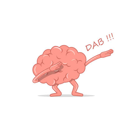 Cartoon brain dancing dab. Isolated character brain the dancing quirky for hype. Vector illustration in flat style