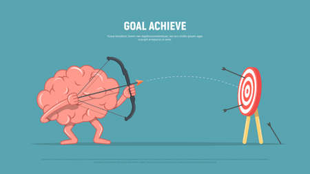 Cartoon brain character shoots or aiming at the target. Business concept goal achieve. Vector illustration in flat style
