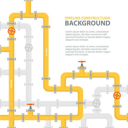 Industrial background with yellow pipeline. Oil, water or gas pipeline with fittings and valves. Vector illustration in a flat style. Иллюстрация