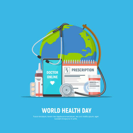 World health day. Online medical consultations. Prescription, tablets, medical stethoscope, globus and phone with app online doctor on screen. Vector illustration in flat style. Ilustração