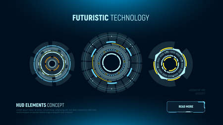 Circular futuristic user interfaces. HUD elements. Sci-fi touch screen display. Vector illustration. Illustration