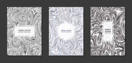 Modern marble templates cover design in A4 size. Liquid marble texture. Fluid art grayscale. Vector illustration.
