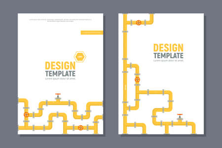 Industrial templates cover design in A4 size. Yellow pipeline. Oil, water or gas pipeline with fittings and valves. Vector illustration in a flat style.