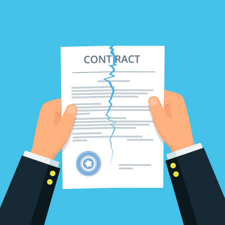 Primo piano delle mani della persona che strappano un contratto. Contratto risolto. Concetto di affari di disaccordo. Rompere le regole. Illustrazione vettoriale in stile piatto.