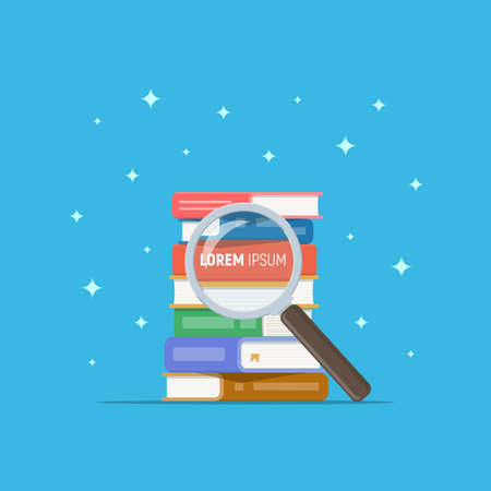 Stack of book with magnifying glass. Search book in pile. Reading, education, literature, bookstore. Vector illustration in flat style.