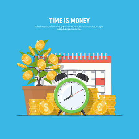 Business financial concept time is money. Coins, alarm clock, money tree and calendar. Investment, financial planning, payment deadline, time management. Vector illustration in flat style.