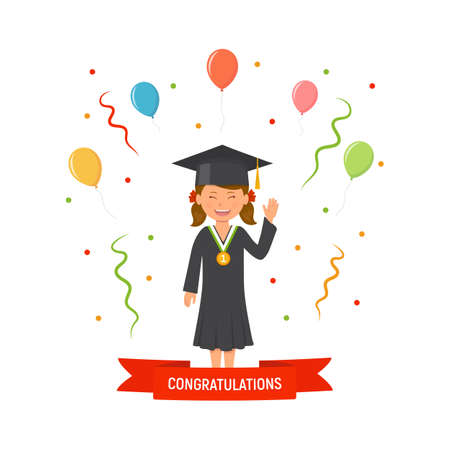 Girl student with graduation gown and hat. Graduations concept ceremony. Student with medal. Congratulation banner. Vector illustration in flat style.