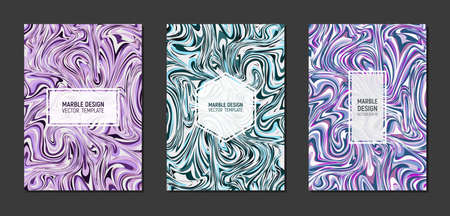 Modern marble templates cover design in A4 size. Liquid marble texture. Fluid art. Mixture of acrylic paints. Vector illustration. Ilustração