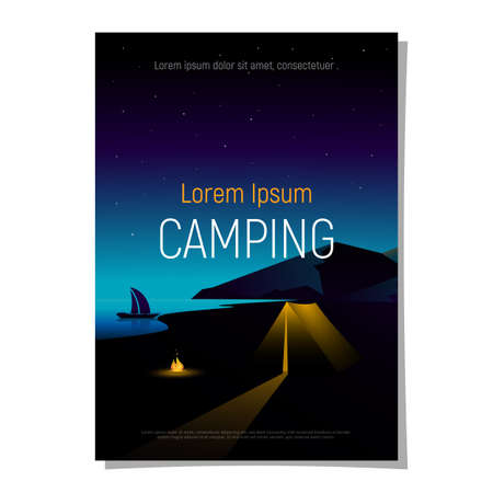 Poster, cover, brochure: travel, adventure, hiking, camping concept. Night landscape mountain and river with camping tent and bonfire. Vector illustration.