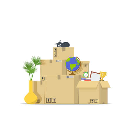 Icon pile of stacked cardboard boxes. Concept moving house. Relocation to apartment. Delivery service. Vector illustration in flat style. Ilustração