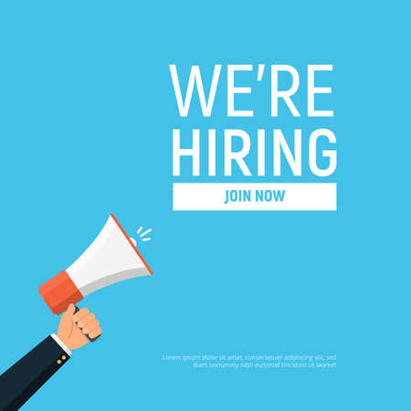 Were hiring design template business banner. Employment recruitment. Businessman holds megaphone. Open vacancy. Vector illustration in flat style.