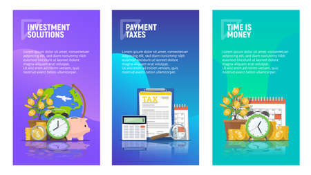 Set of mobile pages templates business concepts. Investment solutions. Payment taxes. Time is money. Liquid Gradient background and flat icons. Vector illustration. Ilustração