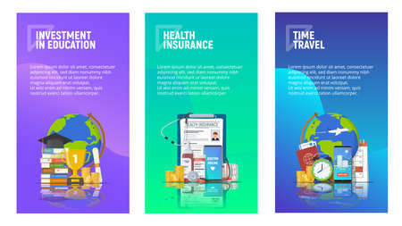 Set of mobile pages templates for articles. Investment in education. Health insurance. Time to travel. Liquid gradient background and flat icons. Vector illustration. Ilustração
