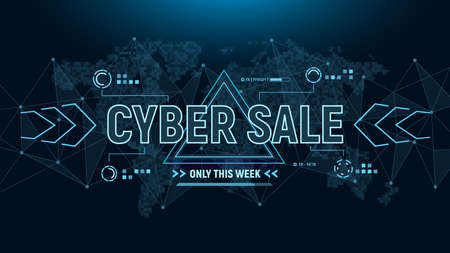 Cyber sale banner. Futuristic banner background with polygons connection structure and world map in pixels.