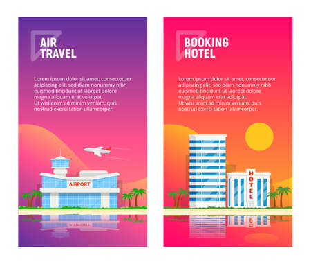 Set of mobile pages templates business concepts. Air travel. Booking hotel. Trendy gradient background. Vertical banners. Vector illustration. Illustration
