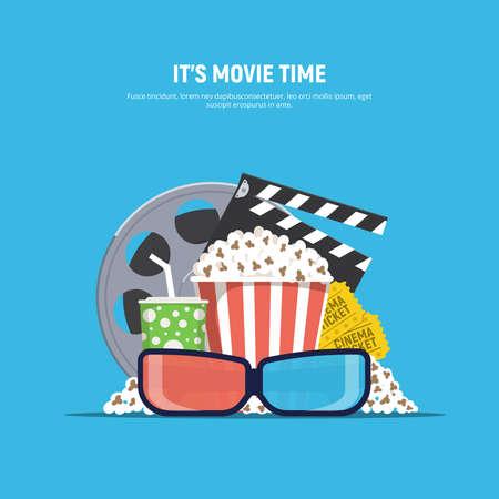 Cinema banner concept. Movie time.Popcorn, drink, 3d glasses, clapperboard and cinema tickets. Vector Illustration in flat style. Ilustração