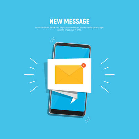 Smartphone with notification icon on screen. Icon new message on mobile phone screen. Mobile notification, email application. Vector illustration in flat style. Ilustração