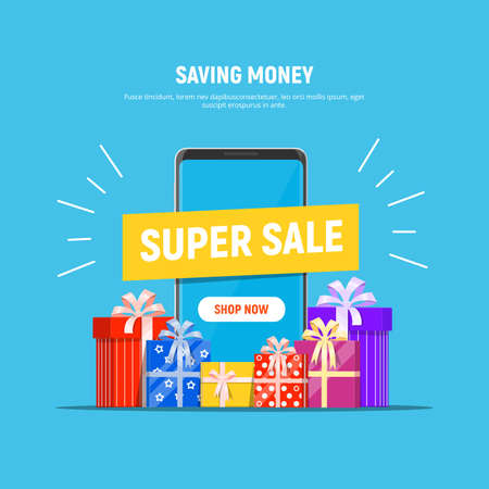 Super Sale concept. Phone with the super sale and pile gift boxes. Saving money. Vector illustration in flat style