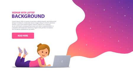 Girl working with laptop. Shopping, learning, communication, e-commerce. Trendy modern background for landing page design with bright neon splash. Vector illustration.