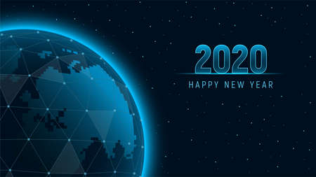 Modern futuristic template for 2020 on background with holographic Earth polygons connection structure. View from space on the planet Earth. Concept future technology. Vector illustration. Ilustração