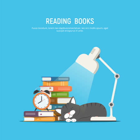 Reading books. Stack of books, table lamp, sleeping cat and alarm clock. Reading home literature. Vector illustration in flat style.