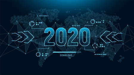 Modern futuristic template for 2020 on background with polygons connection structure and world map in pixels. Digital data visualization. Business technology concept. Vector illustration