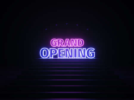Neon grand opening banner. Sign grand opening in neon light on podium. Purple and blue glow. 3d illustration. 3d rendering trendy design. Zdjęcie Seryjne