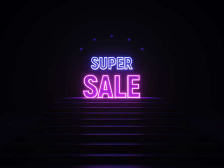 Neon super sale banner. Sign super sale in neon light on podium. Purple and blue glow. 3d illustration. 3d rendering trendy design. Zdjęcie Seryjne