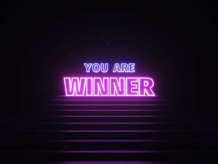 Neon winner banner. Sign you are winner in neon light on podium. Purple and blue glow. 3d illustration. 3d rendering. Zdjęcie Seryjne