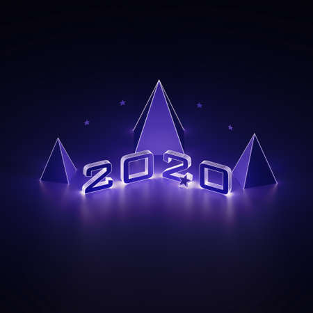 Isometric 3d render 2020 year, Christmas trees and stars in neon light. Ultraviolet glowing abstract background. Christmas illumination. 3d illustration.