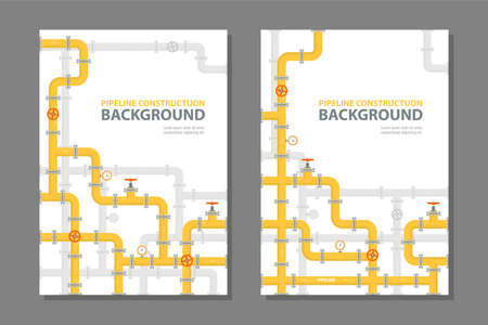 Industrial brochure design with yellow pipes. Business cover design in flat style. Vector illustration a4 size.