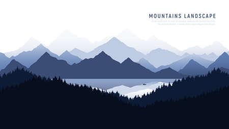 Mountains landscape. Reflection of the mountains in calm surface of a mountain lake . Silhouette man in a boat in the middle of the lake. Vector illustration.