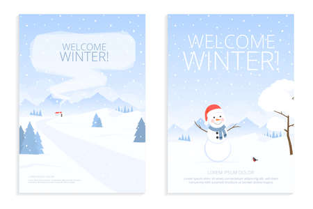 Winter landscape for design template size a4. Merry Christmas. Winter Holiday in mountain. Set of christmas backgrounds for greeting card, poster, invitation in flat style. Vector illustration.