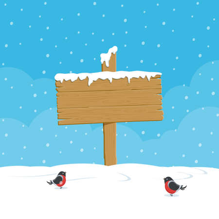 Wood board sign for winter design. Wooden blank board on background of winter snowy landscape. Vector illustration in flat style.