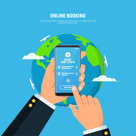 Person holds mobile phone with button booking now on screen. Concept of online booking ticket on airplane with mobile application. Vacation and tourism. Flat design vector illustration Иллюстрация