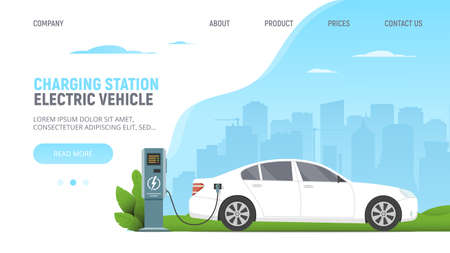 Electric car on parking charging station on cityscape background. Green power. Eco. Modern technology and environment care concept. Web page template with white electric car. Vector illustration.