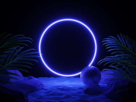 Futuristic background night beach with tropical leaves and neon circle light. Cyberpunk poster. Night party banner. Party invitation. Promotion template. 3d illustration. 3d render. Фото со стока