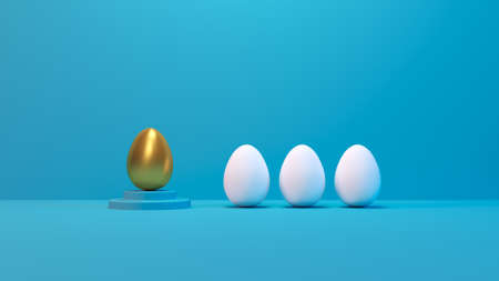 Outstanding golden egg on podium in row group white eggs. Leadership creative concept in pastel color. Business minimal design idea. 3d render. 3d illustration.