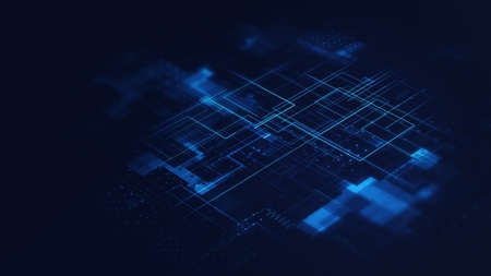 Technology background in blue color. Futuristic tech backdrop. 3d rendering. 3d illustration.